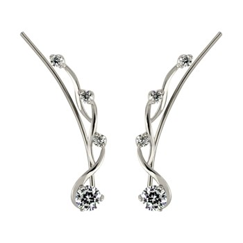 Twisted CZ Silver Ear Climber