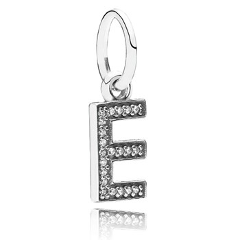 346440-PANDORA Letter E with Clear CZ Pendant