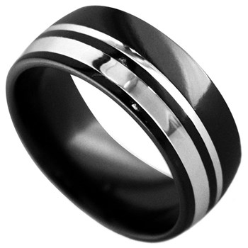 Edward Mirell Men's Wellington Black Titanium & Sterling Silver Ring