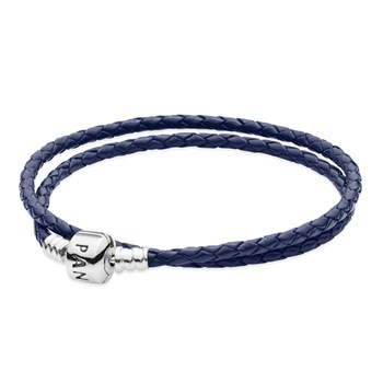 PANDORA Dark Blue Double Braided Leather Bracelet