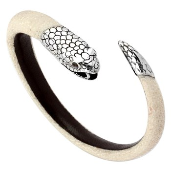 Sterling Silver Snake Head/Tail with White Stingray Leather Spiral Bracelet 342836