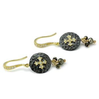 Cross & Pyrite Earrings-210-844