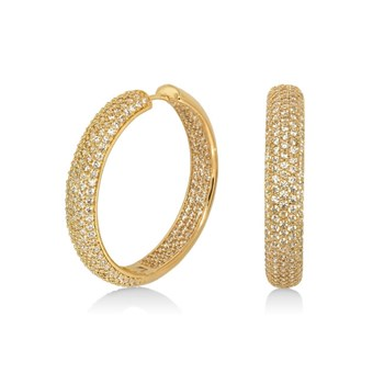 655-2951-Lauren G Adams Hoop Earrings 'Glamour Pave' Design ONLY 1 PAIR LEFT!