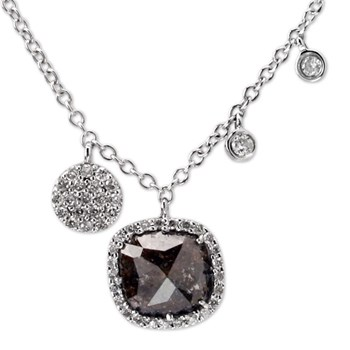 Raw Cut Diamond with 14K White Gold Necklace-338569