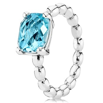 PANDORA Cool Breeze with Blue Topaz Stackable Ring RETIRED