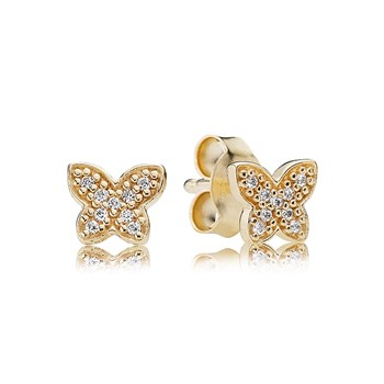 PANDORA 14K Petite Butterfly with Clear CZ Stud Earrings-804-379