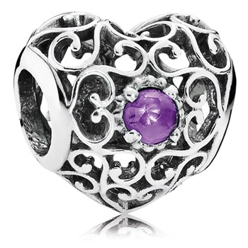 PANDORA February Signature Heart with Synthetic Amethyst Charm-802-3107