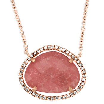 342299-Pink Rhodonite and Diamond Necklace