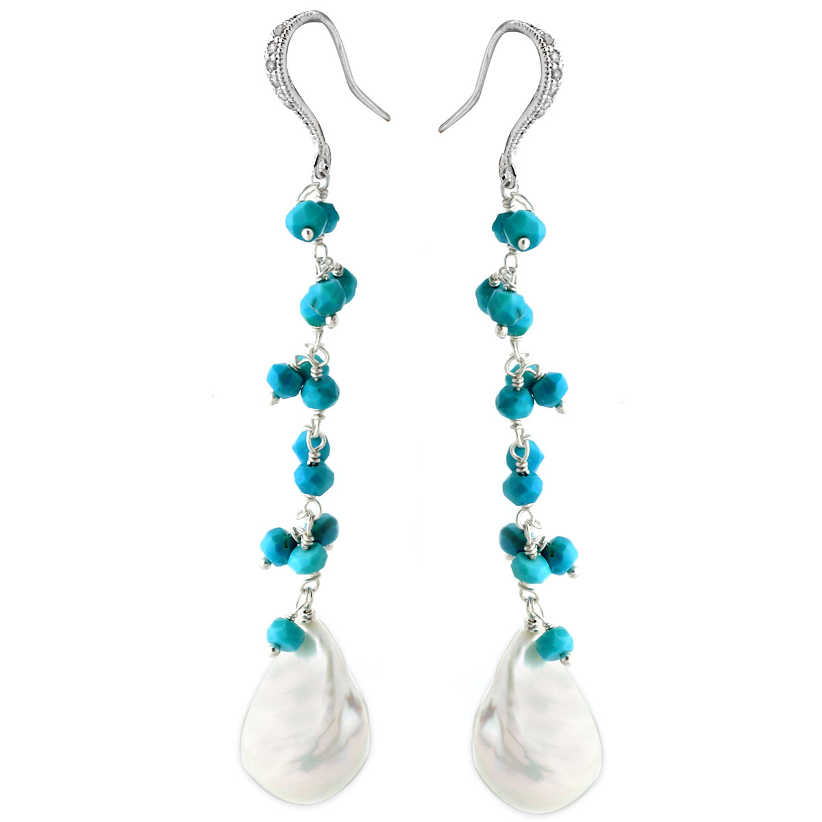 Turquoise & White Pearl Earrings-645-02442