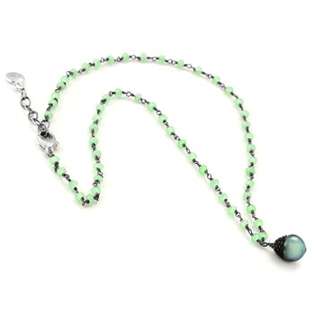 Black Pearl & Prehnite Necklace-347624