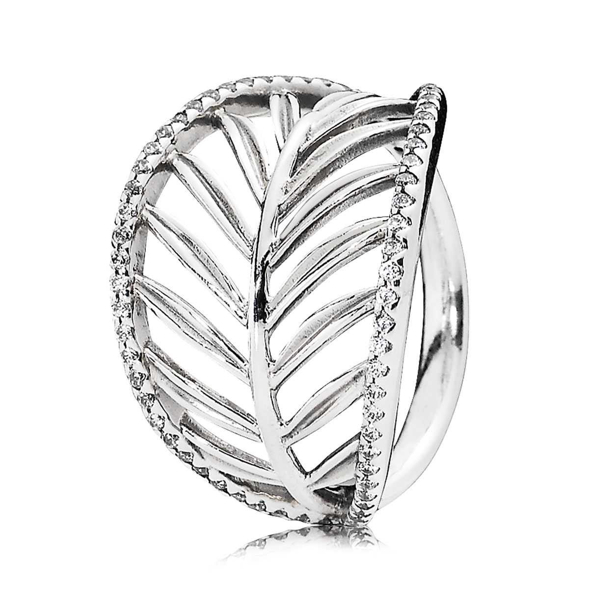 PANDORA Tropical Palm with Clear CZ Ring