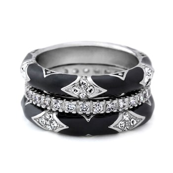 Black 'Fiesta' Ring Set-344078