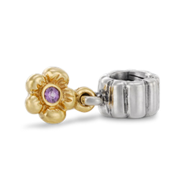 254830-PANDORA Flower with Pink Sapphire and 14K Dangle RETIRED