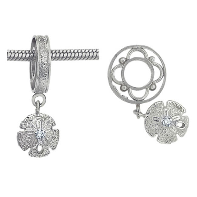 301190-Storywheels Sand Dollar with Diamond Dangle Sterling Silver Wheel