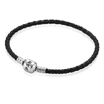 PANDORA Black Single Braided Leather Bracelet