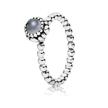 PANDORA Grey Moonstone June Birthday Bloom Stackable Ring