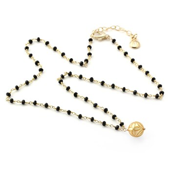 Golden Pearl & Onyx Necklace-348940