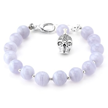345918-Lollies Blue Lace Agate Skull Bracelet