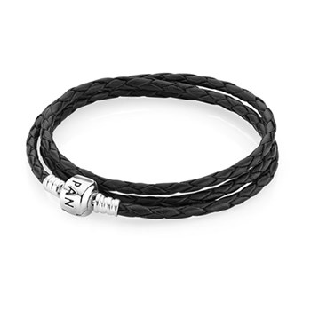 -PANDORA Black Triple Braided Leather Bracelet