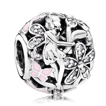 PANDORA Dazzling Daisy Fairy with Light Pink Enamel & Clear CZ Charm