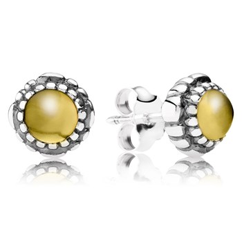 344325-PANDORA Citrine November Birthday Bloom Stud Earrings