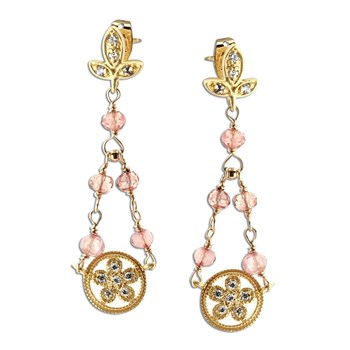 Topaz & Rose Quartz Earrings-348565