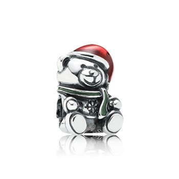 802-1738-PANDORA Christmas Bear with Enamel Charm