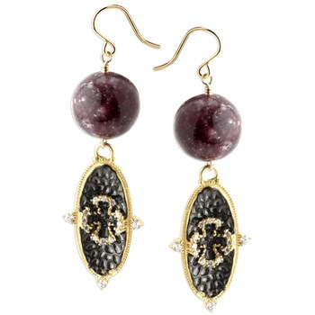 Maltese Cross Lapidolite Earrings-347659