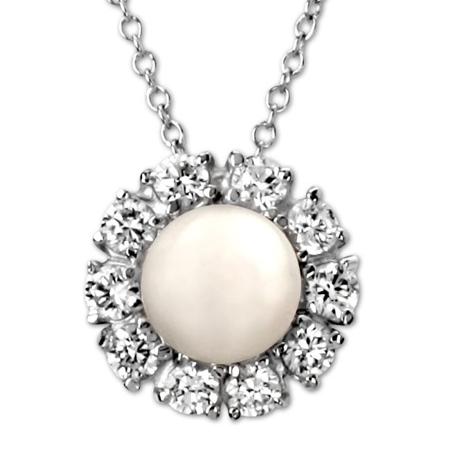 337908-Pearl & CZ Necklace ONLY 1 LEFT!