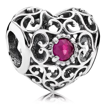 PANDORA July Signature Heart with Synthetic Ruby Charm-802-3108