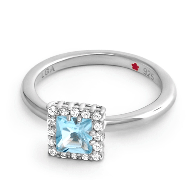 Blue 'Layers of Love' Princess Cut Ring