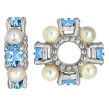 333354-Storywheels Swiss Blue Topaz & Pearl Sterling Silver Wheel ONLY 3 AVAILABLE!