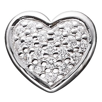 STORY by Kranz & Ziegler Sterling Silver Clear Pave Heart Button-346923