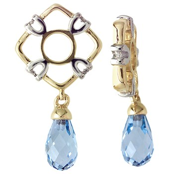 Storywheels Swiss Blue Topaz & Diamond Teardrop Dangle 14K Gold Wheel RETIRED ONLY 1 LEFT!-262958
