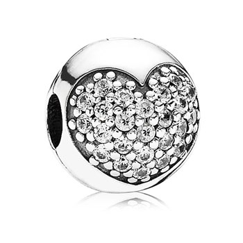 PANDORA Love of My Life Heart with Clear CZ Clip-342097