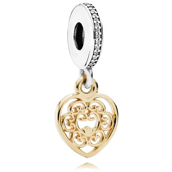 802-3090-PANDORA Magnificent Heart with 14K and Clear CZ Dangle
