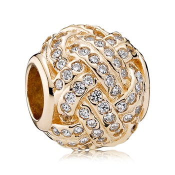 PANDORA 14K Sparkling Love Knot with Clear CZ Charm
