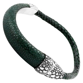 Sterling Silver Clasp with Dark Green Stingray Leather Bracelet 342833