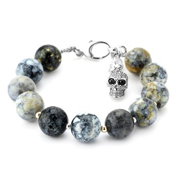 345078-14MM Jasper and Clear CZ  Skull Lollie