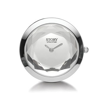 STORY by Kranz & Ziegler Sterling Silver Crystal Clock Button
