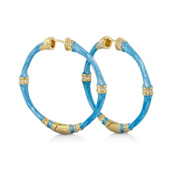 Blue 'Bamboo & Stones' Hoop Earrings-342697