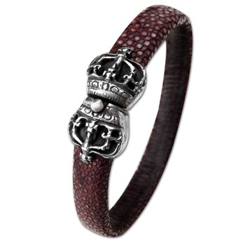 337036-Maroon Stingray Leather Unisex Bracelet