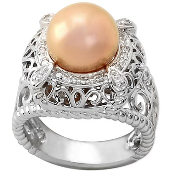 Golden Metallic Freshwater Pearl Ring-341479