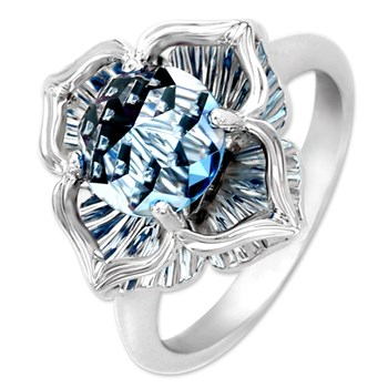 Galatea DavinChi Cut Blue Topaz & White Gold Ring-340559