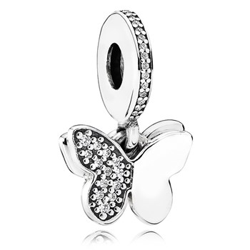 PANDORA Fluttering Butterflies with Clear CZ Dangle