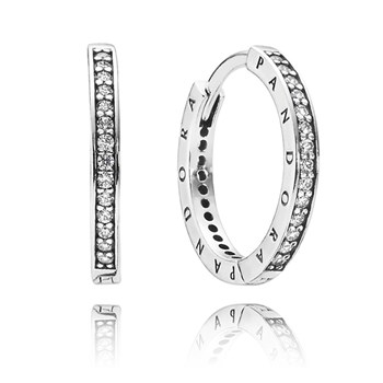 PANDORA PANDORA Signature with Clear CZ Hoop Earrings-348119