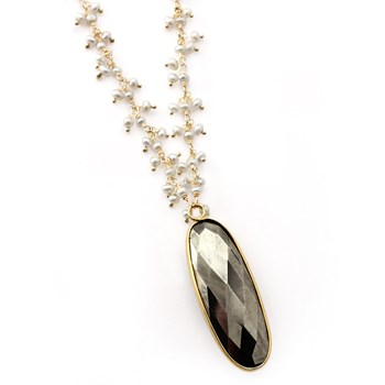 349384-Pearl & Pyrite Necklace