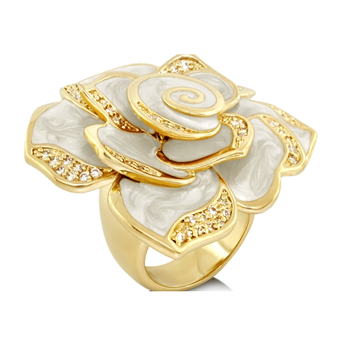 White 'Pave Rose' Ring-346791
