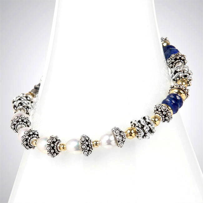 Sapphire and Freshwater Pearl Bracelet-251280