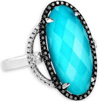 339581-Turquoise Doublet & Diamond Ring